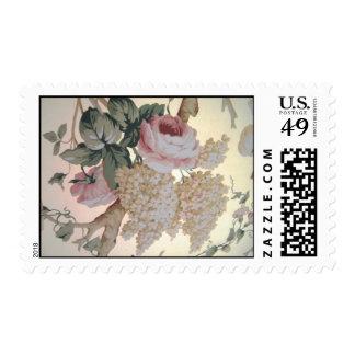 Vintage Floral, Pink Roses White Lilacs Postage