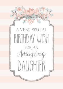 Vintage Floral Pink Stripes Daughter Birthday Card