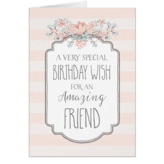Vintage Floral Pink Stripes Friend Birthday Card