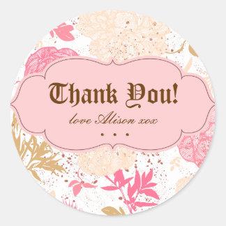 Vintage Floral Pink White Cream Classic Round Sticker