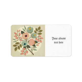 Vintage, floral, pintado a mano, color de agua, etiquetas de dirección