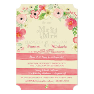 Vintage Floral Post Wedding Reception Only Invite