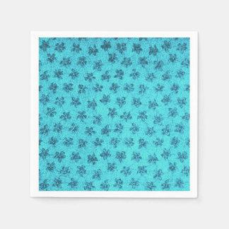 Vintage Floral Powder Blue Teal Violets Disposable Napkins