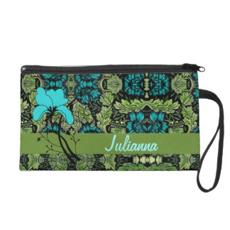 Vintage Floral Print in Green and Blue Wristlet