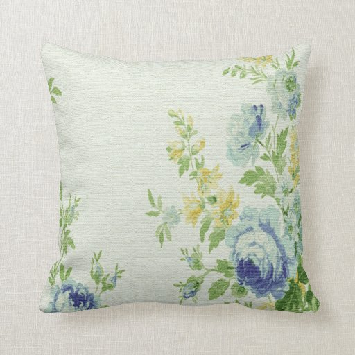 Vintage Blue Throw Pillows : Vintage Floral Print Throw Pillow-Blue Flowers Throw Pillow Zazzle