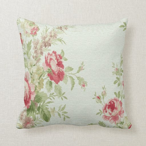 Throw Pillows With Large Flowers : Vintage Floral Print Throw Pillow-Pink Flowers Zazzle