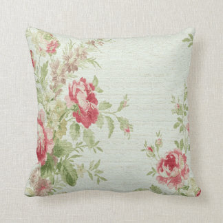 Vintage Floral Print Throw Pillow-Pink Flowers Throw Pillow