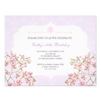 Vintage Floral Purple Damask Adult Birthday Party Personalized Invitations