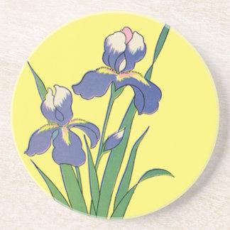 Vintage Floral, Purple Spring Garden Iris Flowers Drink Coaster