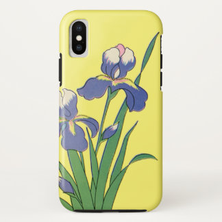 Vintage Floral, Purple Spring Garden Iris Flowers iPhone X Case