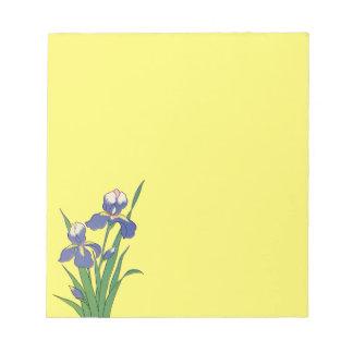 Vintage Floral, Purple Spring Garden Iris Flowers Notepad