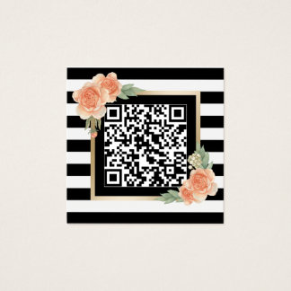 Qr code business cards templates zazzle vintage floral qr code modern stripes square business card reheart Gallery