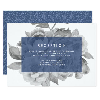 Vintage Floral Reception Card | Navy