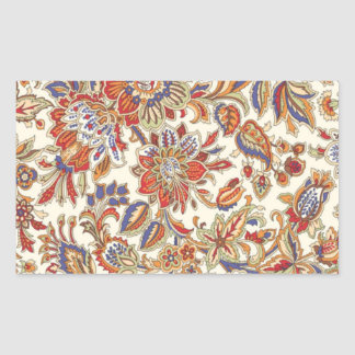 Vintage Floral Rectangular Sticker