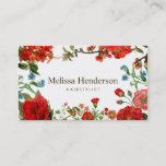 """Vintage Floral Red and White Business Card<br><div class=""""desc"""">Vintage floral with red and blue flowers on white background. It&#39;s a nice look for hairstylists,  beauty salon,  florists and freelance.</div>"""
