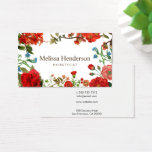 "Vintage Floral Red and White Business Card<br><div class=""desc"">Vintage floral with red and blue flowers on white background. It&#39;s a nice look for hairstylists,  beauty salon,  florists and freelance.</div>"