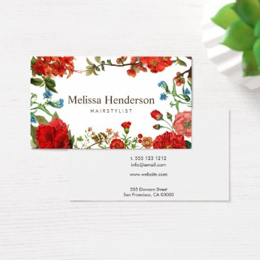crispinstore Vintage Floral Red and White Business Card