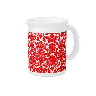 Vintage Floral Red Damask Pitcher