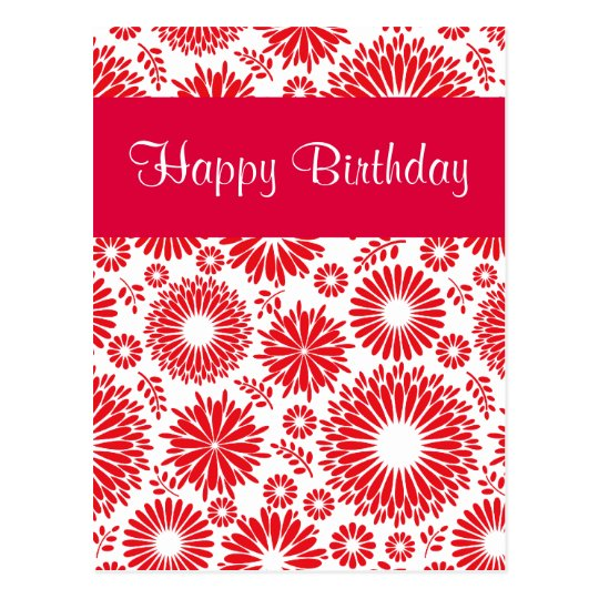 Vintage floral red Happy Birthday Postcard