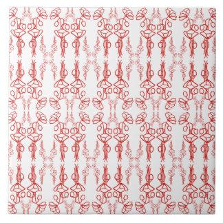 Vintage Floral Red on White Poppy Flower Outline Ceramic Tile