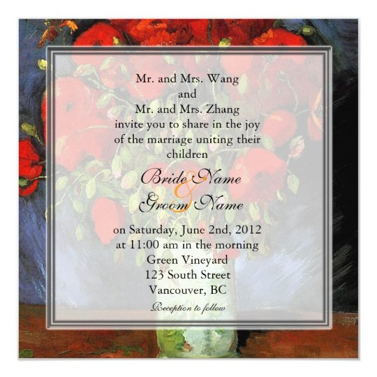 Vintage floral red poppies wedding invitation