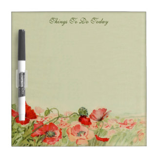 Vintage Floral, Red Poppy Flowers in a Meadow Dry Erase Board