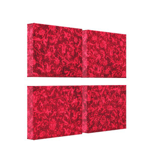 Vintage Floral Red Stretched Canvas Print