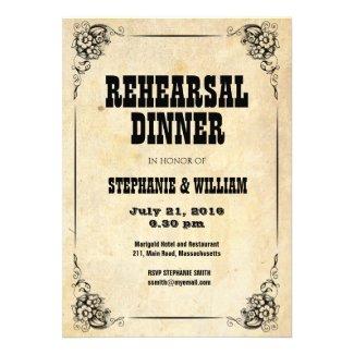 Vintage Floral Rehearsal Dinner Card