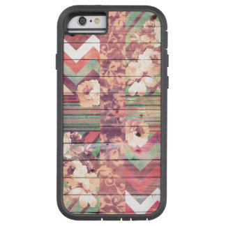 Vintage Floral Retro Chevron Stripes On Wood Tough Xtreme iPhone 6 Case
