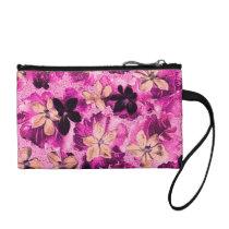 Vintage Floral Retro Flowers Violet Magenta Pink Change Purse