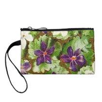 Vintage Floral Retro Flowers Violets Bagettes Coin Wallet