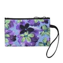 Vintage Floral Retro Flowers Violets Purple Green Change Purse