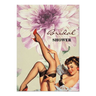 vintage floral retro pin up girl card