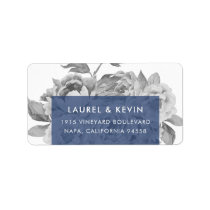 Vintage Floral Return Address Labels | Navy