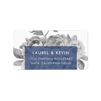Vintage Floral Return Address Labels   Navy
