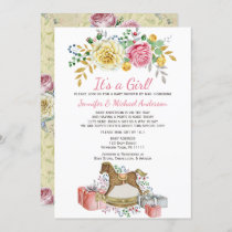 Vintage Floral Rocking Horse Baby Shower By Mail Invitation