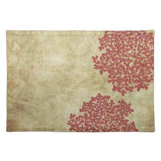 Vintage floral rojo mantel individual