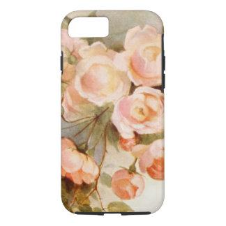 Vintage Floral, Romantic Antique Pink Rose Flowers iPhone 7 Case