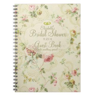 Vintage Floral Romantic Bridal Shower Guest Book- Note Book