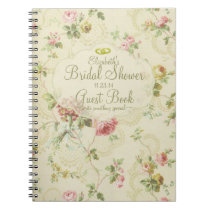 Vintage Floral Romantic Bridal Shower Guest Book- Notebook