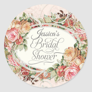 Vintage Floral Rose Elegant Bridal Shower Blush Classic Round Sticker