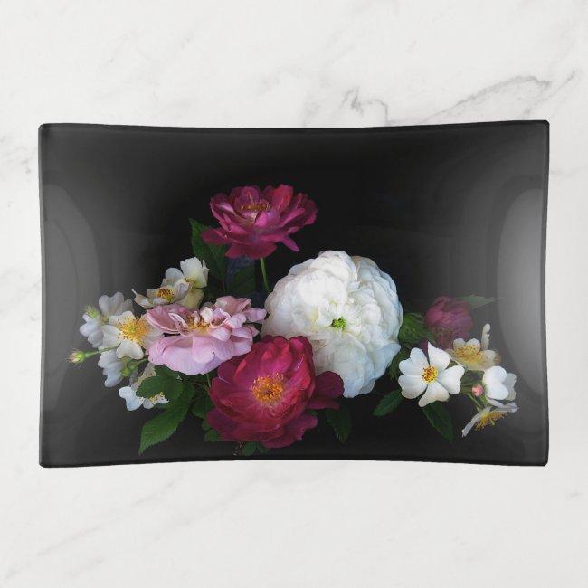Vintage Floral Rose Garden Flowers Trinket Tray