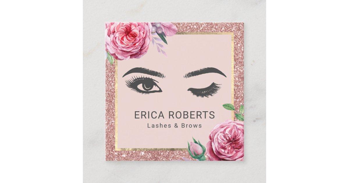 c4a1115ea3549 Vintage Floral Rose Gold Glitter Wink Eye Beauty Square Business Card |  Zazzle.com
