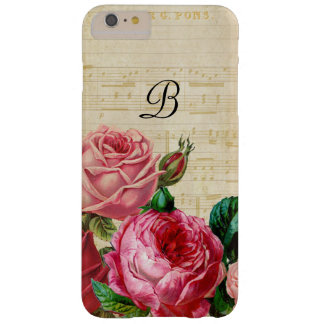 Vintage Floral Rose Monogram Barely There iPhone 6 Plus Case