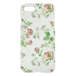 Vintage floral rose pattern shabby roses clear iPhone 7 case