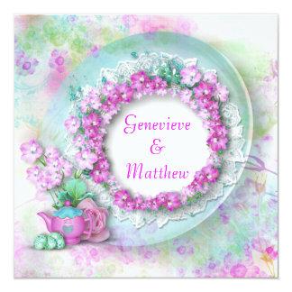 vintage floral rose teal wedding invitation