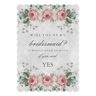 Vintage Floral Rose Will You Be My Bridesmaid 5x7 Paper Invitation Card
