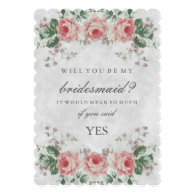 classic old-fashioned traditional high class classy elegant Vintage Floral Rose Will You Be My Bridesmaid 5x7 Paper Invitation Card