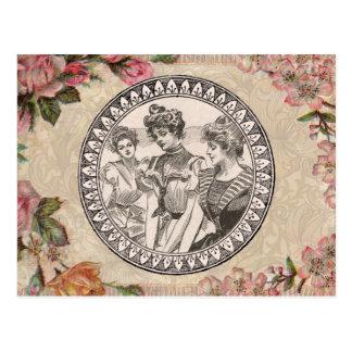 Vintage Floral Roses Antique Soft Girly Postcard