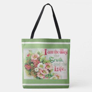 Vintage Floral Roses Basket Scripture Verse Tote Bag
